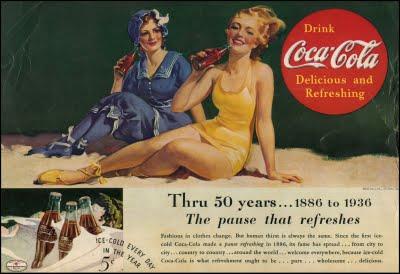 Coca Cola ha sabido adaptar su comunicación a lo largo del tiempo. Aquí, un afiche sencillo y sobrio muy ajustado a su tiempo y espacio.